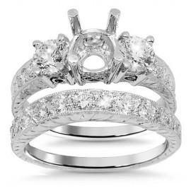 18 K fehér arany gyémánt esküvői gyűrű készlet 1,75 Ctw