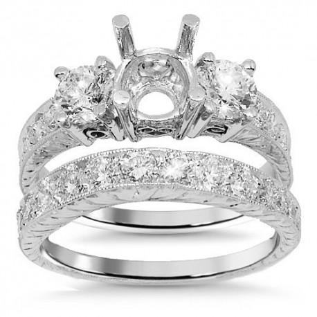 18K White Gold Diamond Bridal Ring Set 1.75 Ctw