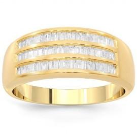 10K Yellow Gold Womens Diamond Wedding Band 0.94 Ctw