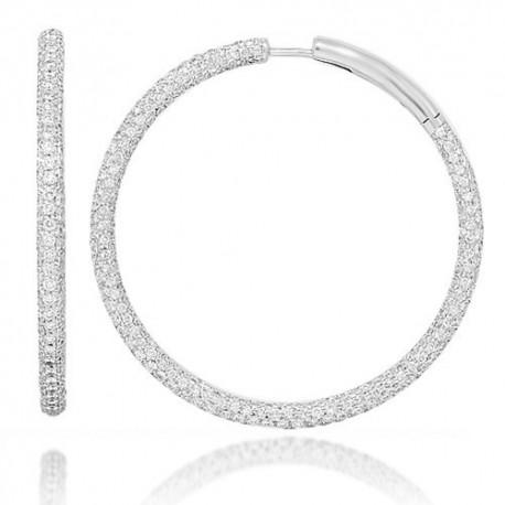 18K White Gold Womens Diamond Hoop Earrings 13.50 Ctw